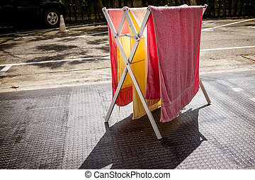 Drying towels.