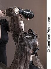 Drying woman's hair