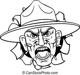 dryl, bootcamp, rysunek, sierżant, gniewny, armia