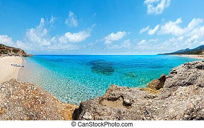 Drymades beach panorama, Albania.