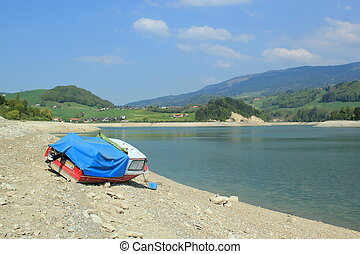 Dryness at the lake of Gruyere, Fribourg, Switzerland - ...
