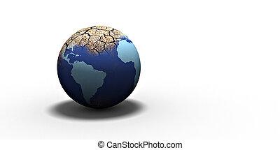 dryness - dry earth on a white groun