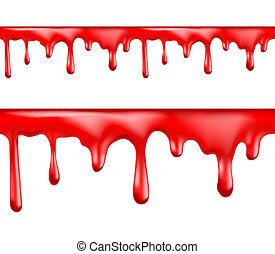 drypande, mönster, seamless, röd, blod