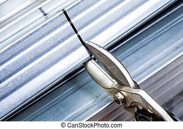 drywall, 框架, 钢铁, 大头钉, 切割, 带, 剪断
