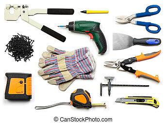drywall, ferramentas, isolado