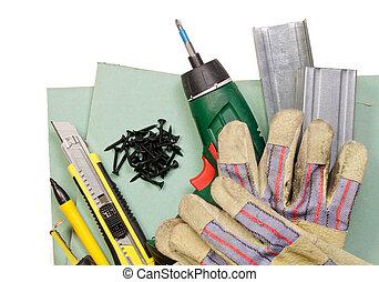 drywall, herramientas, conjunto