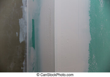 drywall hydrophobic plasterboard in green plaster seam -...