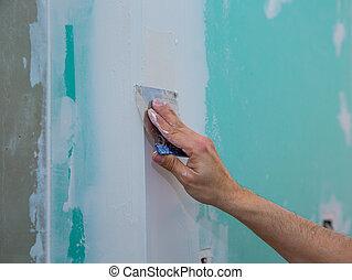 drywall hydrophobic plasterboard trowel plastering seam -...