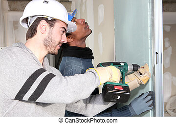 drywall, installation, marchands