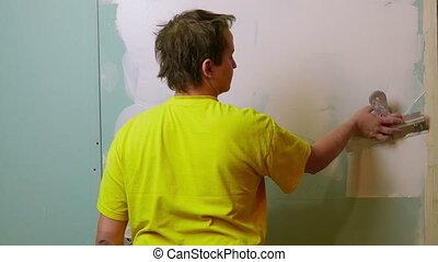 drywall, ouvrier, plâtre, construction, demande