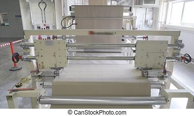 drywall, planche, gypse, rouleau, sur, machine-tool, ou, fédéral, papier, placoplâtre, rotation, fabrication, conveyor., feuilles