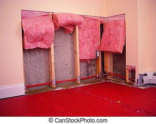 drywall repair work - Drywall removed to repair leaky water...