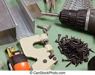 drywall, sæt, redskaberne