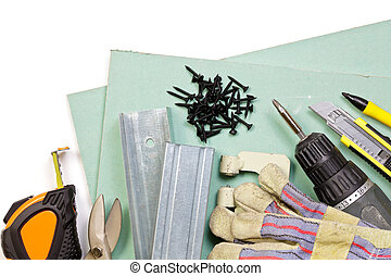 Drywall tools set - Plasterboard, tools, metal studs, screws...