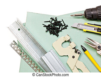 Drywall tools set - Plasterboard tools set with metal studs,...