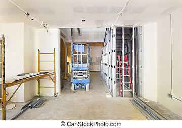 drywall, y, encuadrado, en, interpretación el sitio