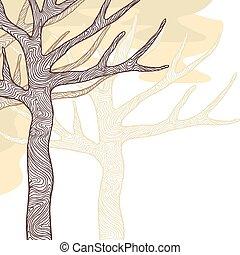 drzewa., ilustracja, stylizowany, wektor, projektować, karta