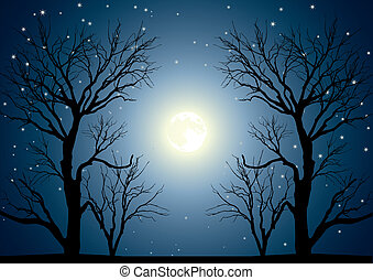 drzewa, księżyc