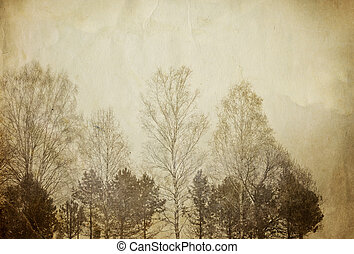 drzewa, na, rocznik wina, papier, sheet.