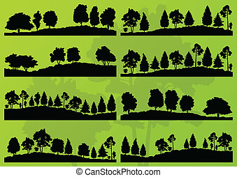 drzewa, sylwetka, wektor, las, tło, krajobraz