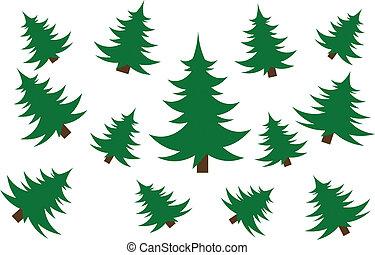 drzewa., wektor, boże narodzenie