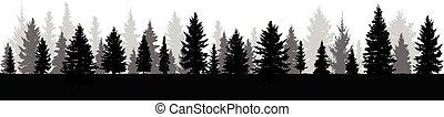 drzewa, wektor, sylwetka, las