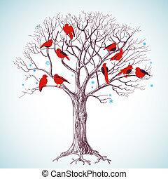 drzewo, śpiew, zima, ptaszki