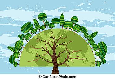 drzewo, świat, od, drzewa