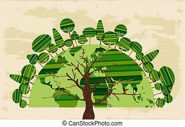 drzewo, świat, od, drzewa, pojęcie