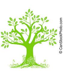 drzewo, abstrakcyjny, sylwetka, liście, winorośle