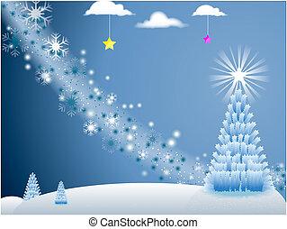 drzewo, błękitne tło, święto, boże narodzenie, gwiazdy, scena, płatki śniegu, biały