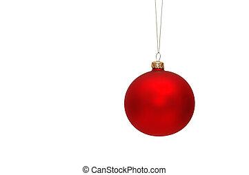 drzewo, boże narodzenie, czerwony, bauble