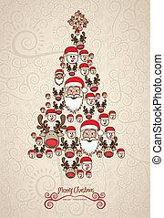 drzewo, boże narodzenie, ilustracja