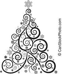 drzewo, boże narodzenie, ozdobny