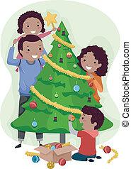 drzewo, boże narodzenie, rodzina