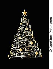 drzewo, boże narodzenie, złoty