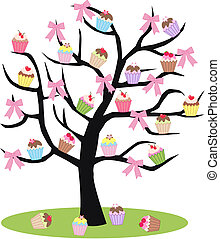 drzewo, cupcake