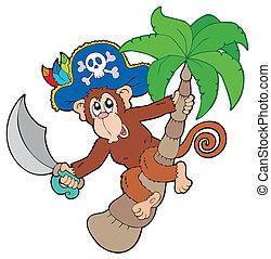 drzewo, dłoń, pirat, małpa