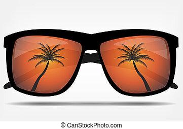 drzewo, dłoń, wektor, sunglasses, ilustracja