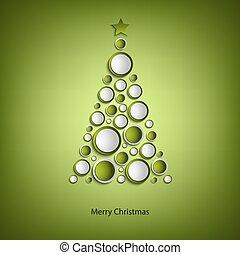 drzewo dzwoni, zielony, szablon, kartka na boże narodzenie