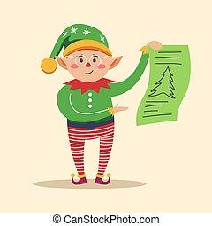 drzewo, elf, sosna, papier, dzierżawa, druk, kawał