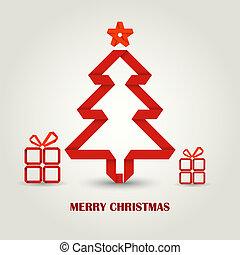 drzewo, fałdowy, papier, czerwony, kartka na boże narodzenie