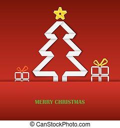 drzewo, fałdowy, papier, szablon, białe boże narodzenie, karta