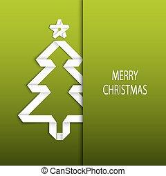 drzewo, fałdowy, papier, zielone tło, białe boże narodzenie, karta