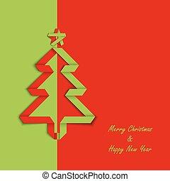 drzewo, fałdowy, papier, zielony, karta, szablon, boże narodzenie, czerwony