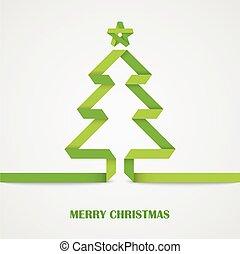 drzewo, fałdowy, papier, zielony, kartka na boże narodzenie