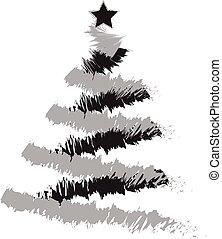 drzewo, grunge, boże narodzenie, ilustracja, freehand