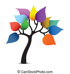 drzewo, kolor, design., kaprys, graficzny, wektor