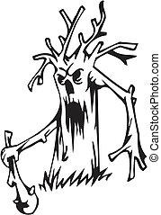 drzewo, komplet, halloween, -, ilustracja, wektor