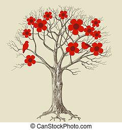 drzewo, miłość ptaszki, kwiat